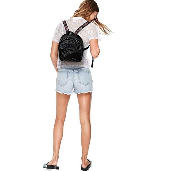 fa5f65320d729 NWT PINK VS Black Crushed Velvet Mini Backpack NWT